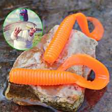 Sougayilang Big Soft Lure Silicone 10pcs/lot Artificial Soft Baits 18.5cm Orange Worm Shad Lure for Fishing Tackle Peche