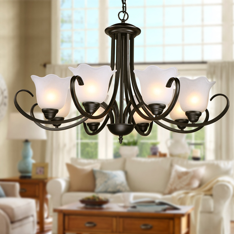 direct country iron Art Chandelier applicable to the living room dining room hotel bedroom retro American Chandelier american creative personality features simple and warm bedroom dining room chandelier retro country iron chandelier