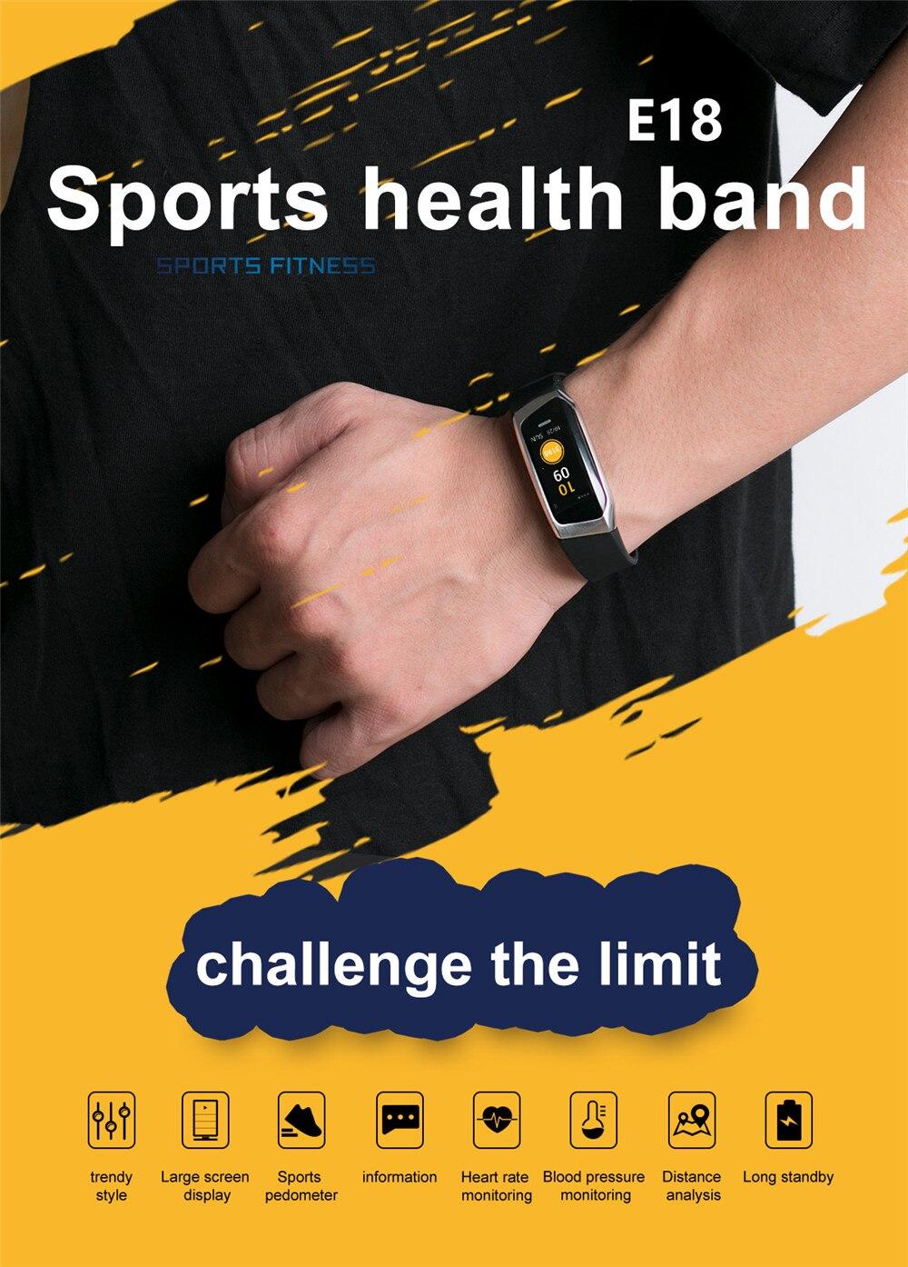 HTB15ZtWKuuSBuNjSsziq6zq8pXaE Greentiger E18 Smart Bracelet Blood Pressure Heart Rate Monitor Fitness Tracker smart watch IP67 Waterproof camera Sports Band