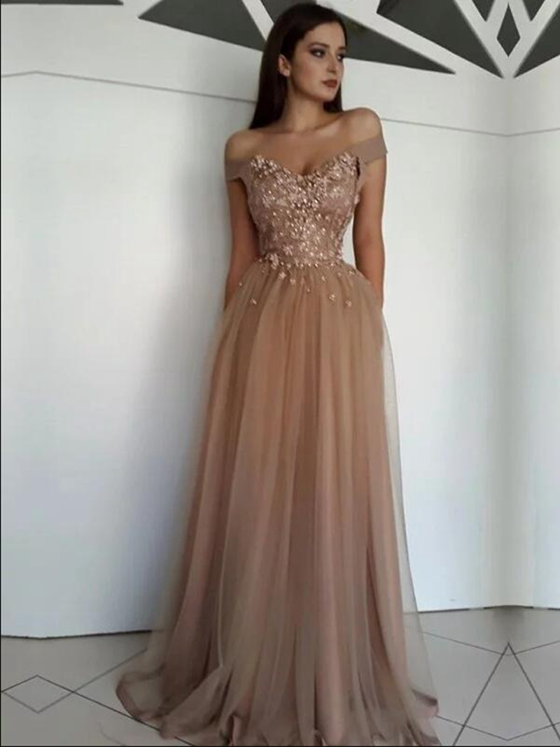 Crystal Evening   Dresses   2019 A Line Sleeveless V Neck Floor Length Long   Prom     Dress   Off The Shoulder Formal Party robe de soiree