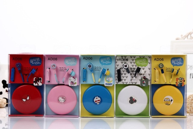 Cartoon in-ear Earphone Headset Cute Earphones Earbuds for iPhone Cellphone Mp3 with a case for Android &iOS 3.5mm free shipping
