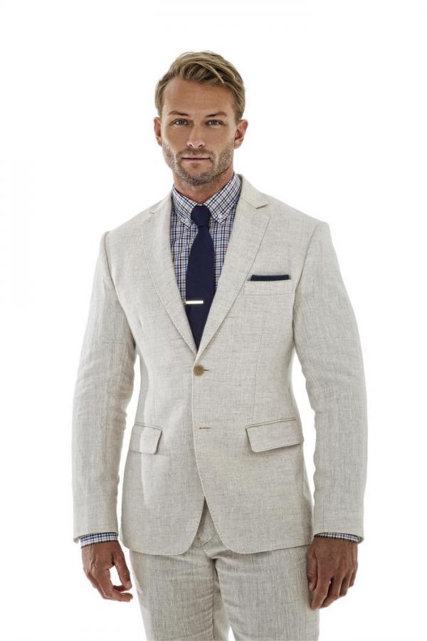 2017 Latest Coat Pant Designs Ivory Linen Men Suit Skinny