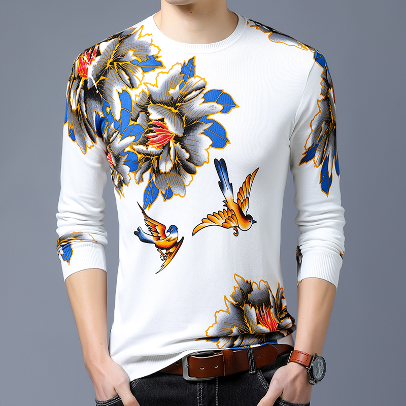 Men Sweaters 2020 New Autumn Winter Pullovers Men's Sweater Floral Pattern Cashmere O neck Long Sleeve Sweater Men Pull Homme