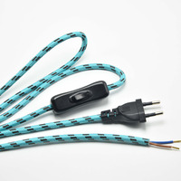 1 8M 2x0 75mm2 Lamp Switch Braided Wire Europe Plug VDE Lamp Power Cord With 304