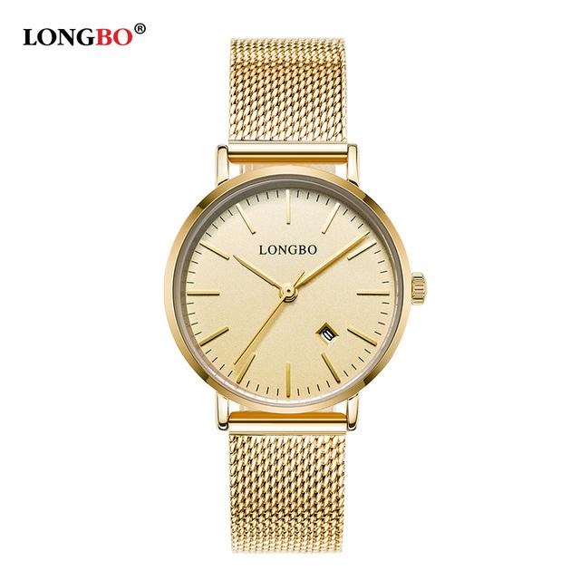 LONGBO New Fashion Elegant Luxury Ladies Stainless steel Quartz Watch Ladies with calender