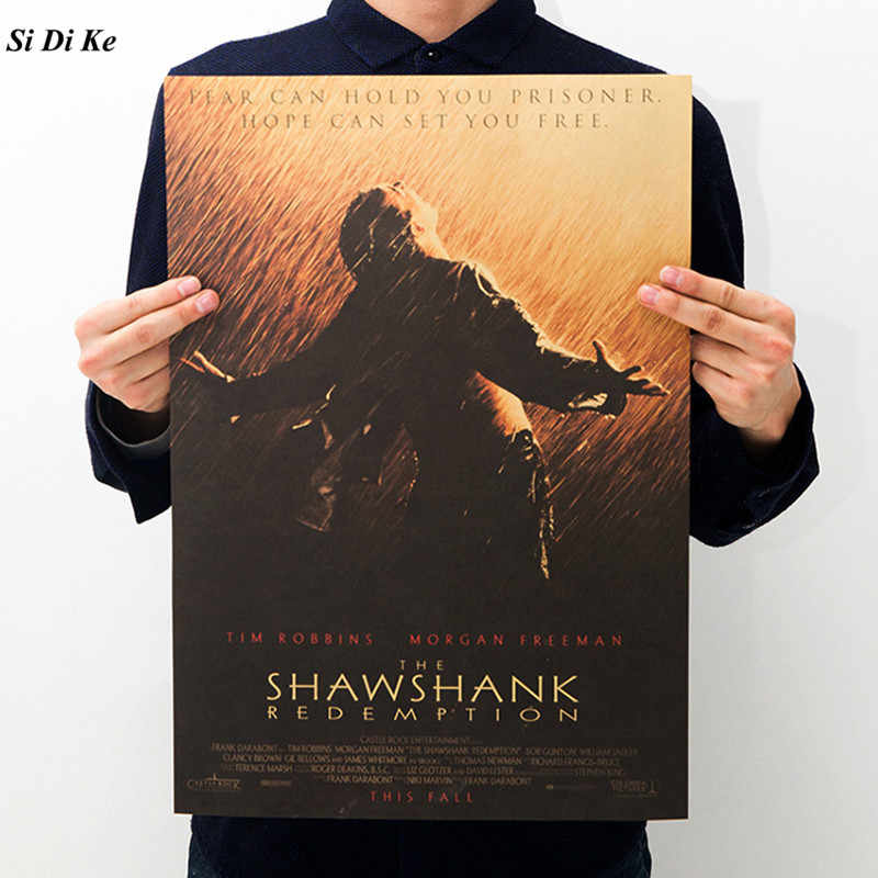 Classic Movie The Shawshank Redemption Wall Stickers Poster Inspirational Poster Retro Kraft Paper Decorative Painting 51x35.5cm