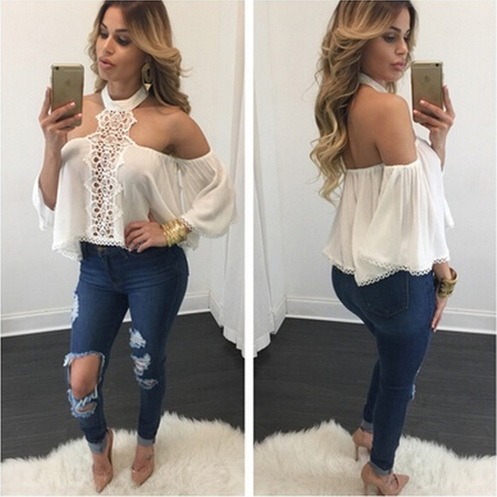 afb893db00f 2019 Women summer top Sexy Off Shoulder Strapless chiffon gown Women Long  Sleeve Shirt Casual Loose Tops Blouse-in Blouses & Shirts from Women's  Clothing on ...