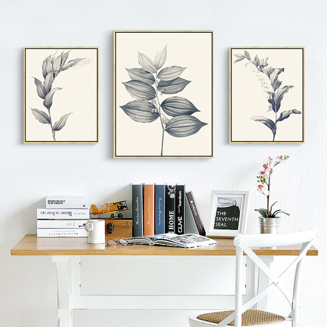 FULL HOUSE Modern Plant Leaves Posters Canvas Art Print Pictures For Living  Room Wall Painting Bedroom