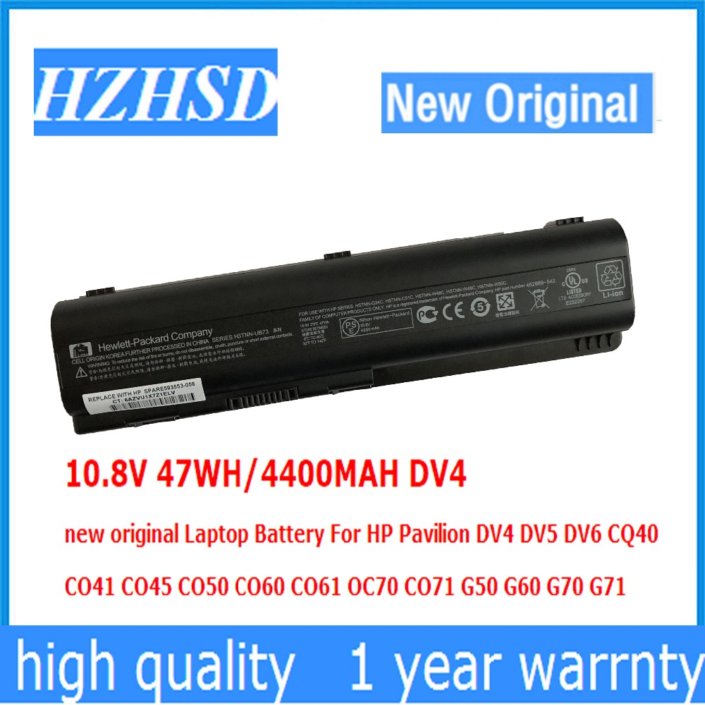 10.8V 47WH/4400MAH DV4 new original <font><b>Laptop</b></font> <font><b>Battery</b></font> For <font><b>HP</b></font> Pavilion DV4 DV5 <font><b>DV6</b></font> CQ40 CQ41 CQ45 CQ50 CQ60 CQ61 QC70 CQ71 G50 G60