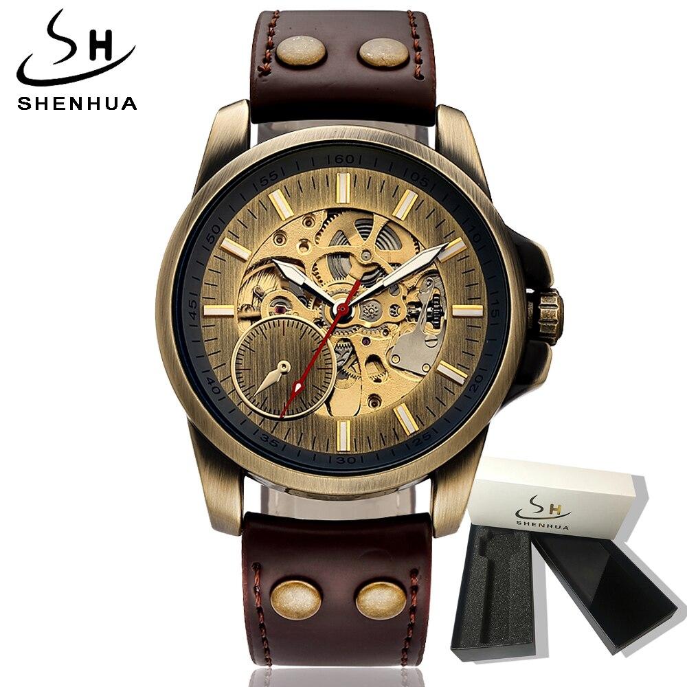 2018 automatique auto remontage hommes montre mécanique squelette montre hommes montre automatique en cuir montres Vintage horloge homme