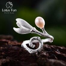 Lótus diversão real 925 prata esterlina natural pérola criativa artesanal fina jóias magnólia flor anéis para mulher designer bijoux