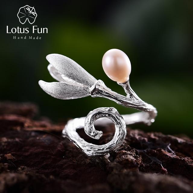 Lotus Fun Real 925 Sterling Silver Natural Pearl Creative Handmade Fine Jewelry Magnolia Flower Rings for Women Designer Bijoux