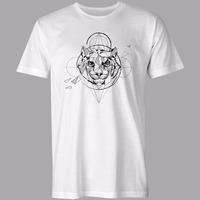 KBB Summer 2017 White Men T Shirt Short Sleeve Round Collar Fashion Tiger Geometric Solid Cotton