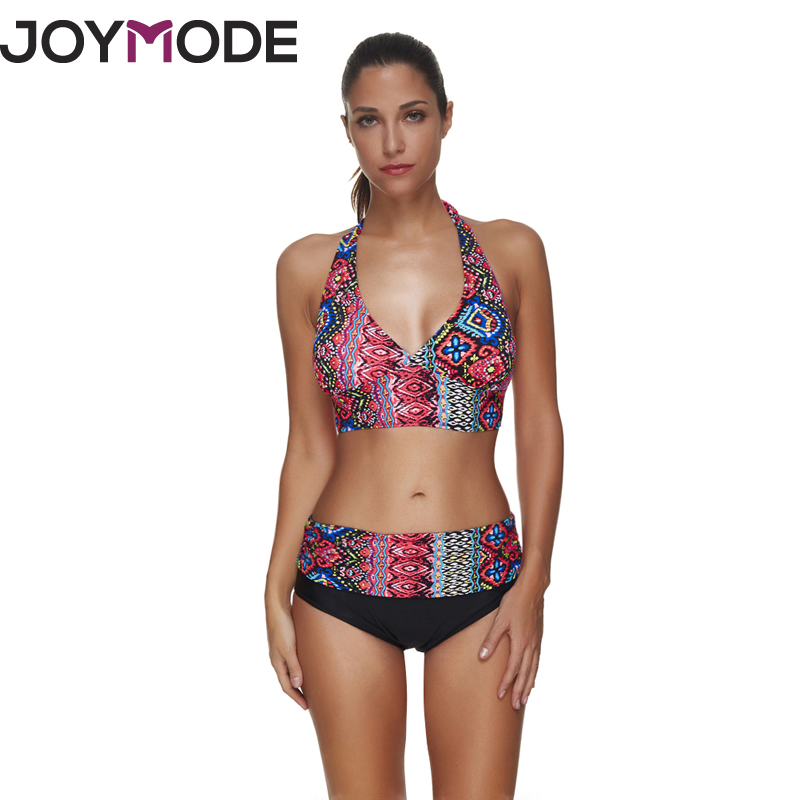 JOYMODE 2018 Swim suit For Women Bikini Halter Swim wear Print Floral Stitching Flowers Patchwork Summer Beach wear for Women -C sweet halter colorful layered bikini suit for women