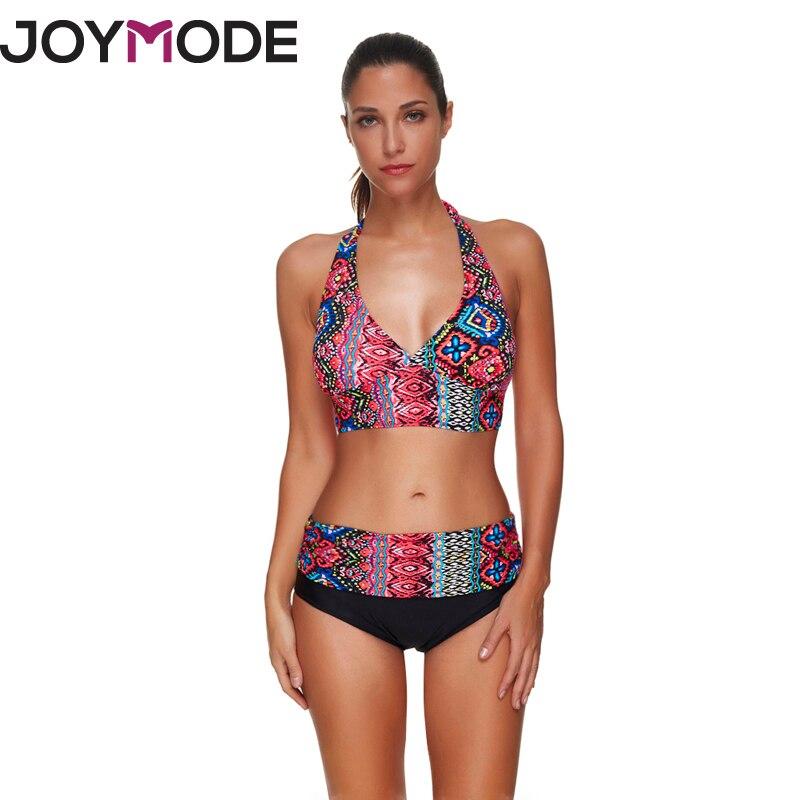 JOYMODE 2018 Swim suit For Women Bikini Halter Swim wear Print Floral Stitching Flowers Patchwork Summer Beach wear for Women -C chic women s multicolor geometrical print halter bikini