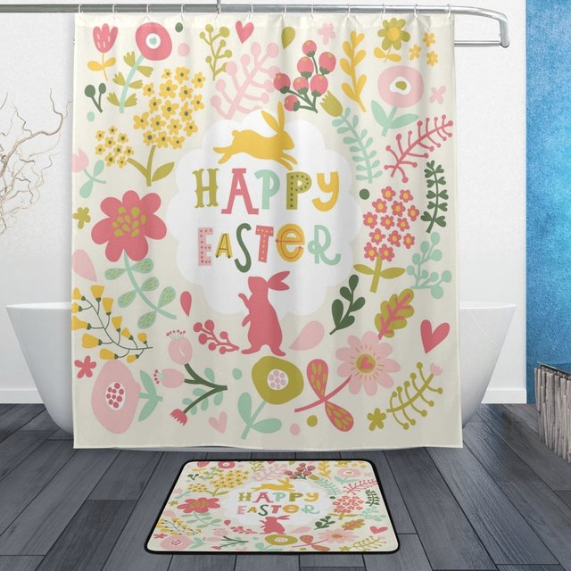 Happy Easter Shower Curtain And Mat Set Flower Floral Bunny Rabbit Waterproof Fabric Bathroom