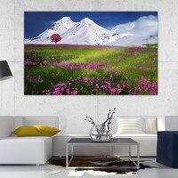 GenDi Poster Modern Pintura Al Óleo Decoración de Montaña de Nieve de Primavera Flor Roja Naturaleza Paisaje Arte De La Pared Decoración Para la Sala de estar