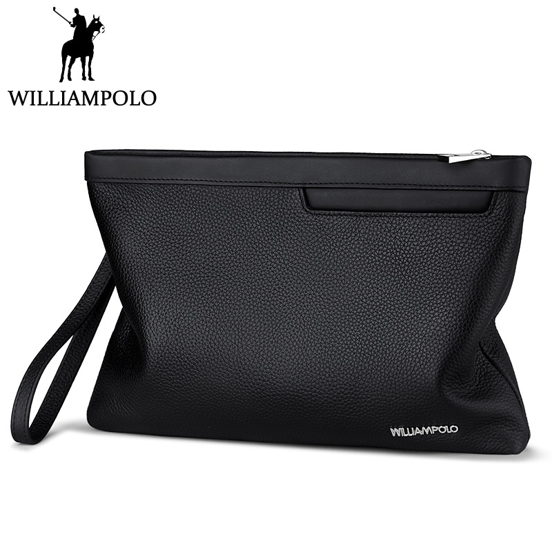 цена WILLIAMPOLO Men Clutch Bag Genuine Leather Clutch Purse Fashion Black Cowhide Clutches With Hand Strap