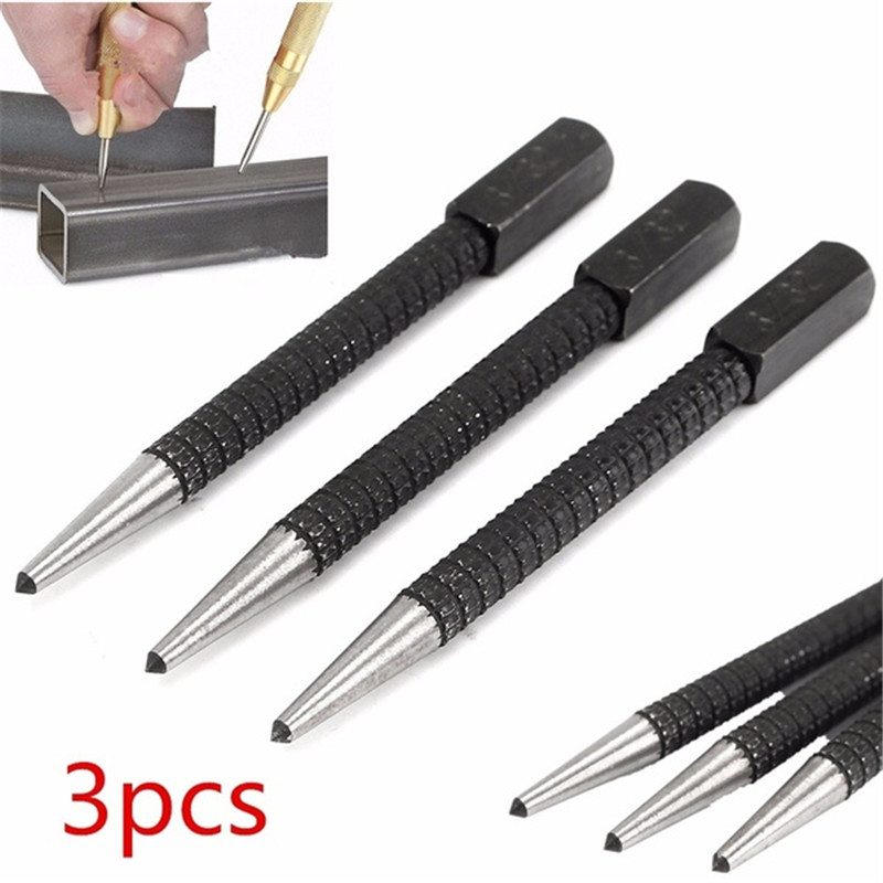 Metal Wood Marking Locator HSS Black Spring Loaded Automatic Center Punch 1Pc