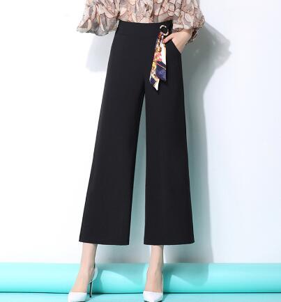 Pierna Fmz0802 gris blanco Negro marrón Nueva Oscuro Pantalones Más Negro naranja Blanco Mujeres Alta Mujer Para De Gris Verano Moda Ancha Casual Las Primavera Tamaño Capris Cintura RPq5Bg