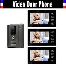 7 Inch Monitor Video Door Phone DoorBell System Video intercom Kit IR Night Vision waterproof Camera 3-monitro for House Villa