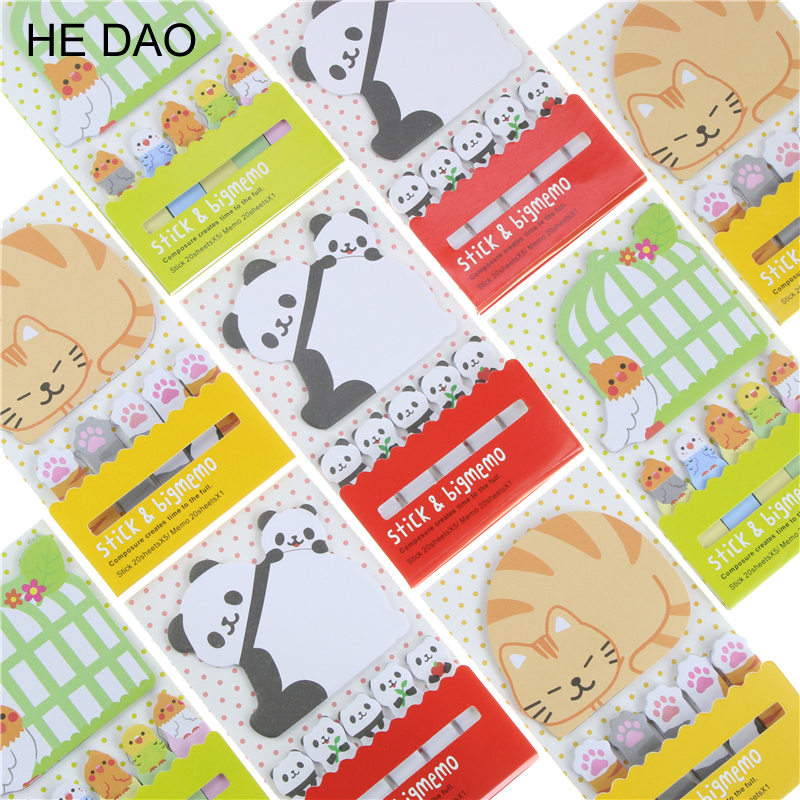 2 PCS Animal Cat Panda Kawaii Sticky Notes Post It Memo Pad School Supplies Planner Stickers Paper Bookmarks Korean Stationery