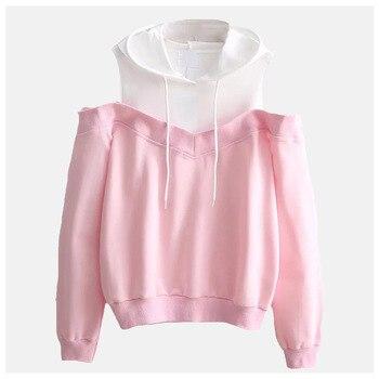 Cold Shoulder Hoodie Solid Plain Hooded Sweatshirt Fake Two Piece Poleron Mujer 2019 Harajuku Cute Pink Two Color Hoodies Women
