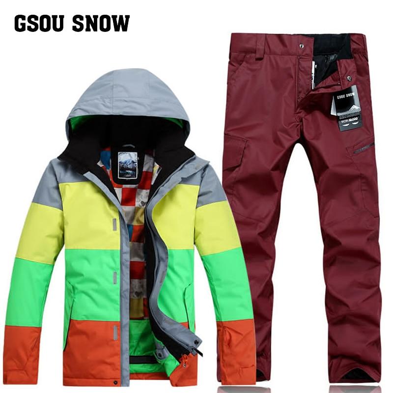 GSOU SNOW hommes combinaison de Ski à planche unique série de couleurs combinaison de neige en plein air coupe-vent imperméable respirant veste de Ski pantalon de Ski