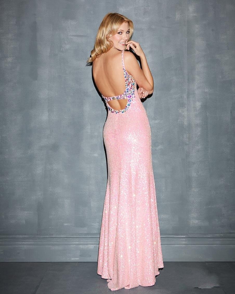 Glamorous Impressive Front Slit Plunging Neckline Sequin Pink Long ...