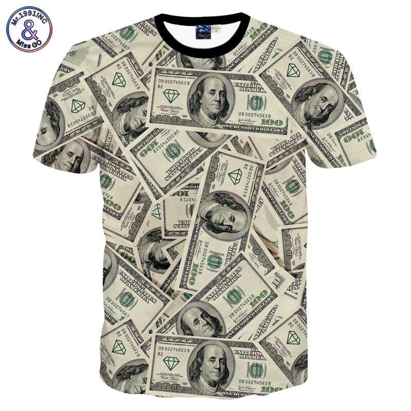 Geld Dollars T Print shirts Us New Digital Heren Ujwi Harajuku 3d OkTiXZuP