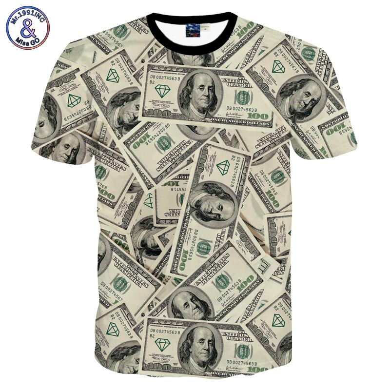 new fashion funny 3d t shirt men women 39 s 3d tshirt printed lots of money dollars t. Black Bedroom Furniture Sets. Home Design Ideas