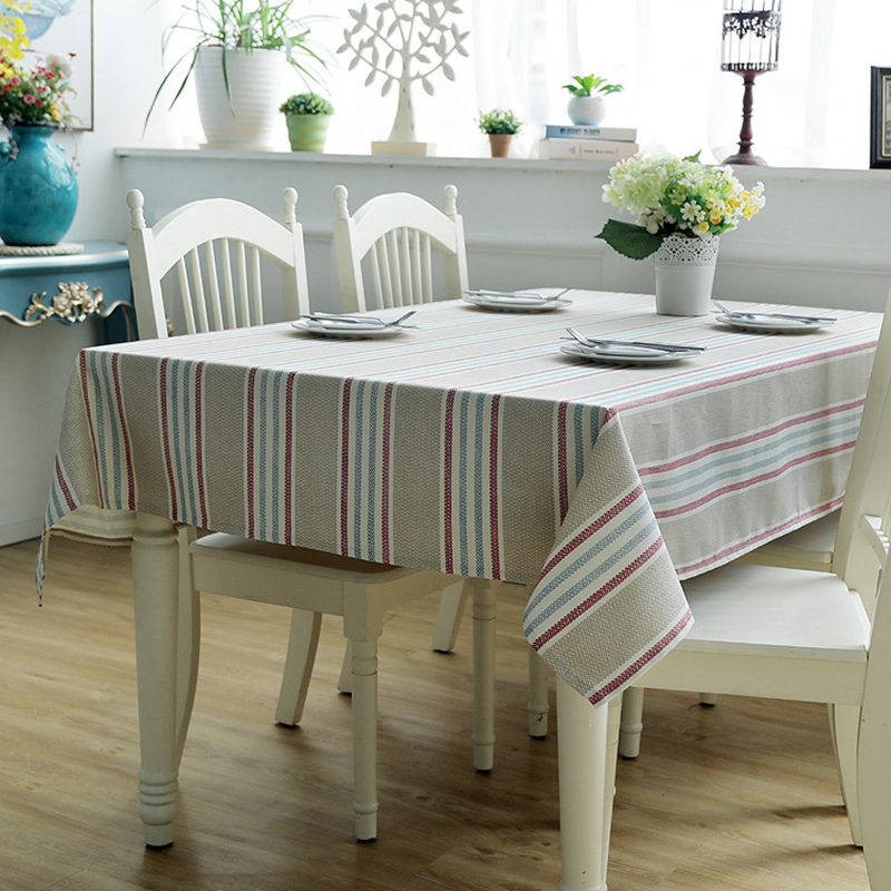Modern Rectangular Striped Table Cover Cotton Thick Canvas Living Room Coffee Table Cloth Hotel Restaurant Minimalist Tablecloth