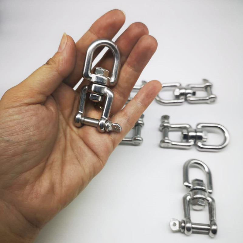 6pcs M6  304 Stainless Steel Jaw--Eye Swivel Hook Shackle