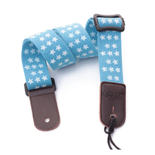Longteam Five-pointed star pattern uukiri shoulder strap with tail nail and Tied rope length 75 -125cm  width 4cm Blue