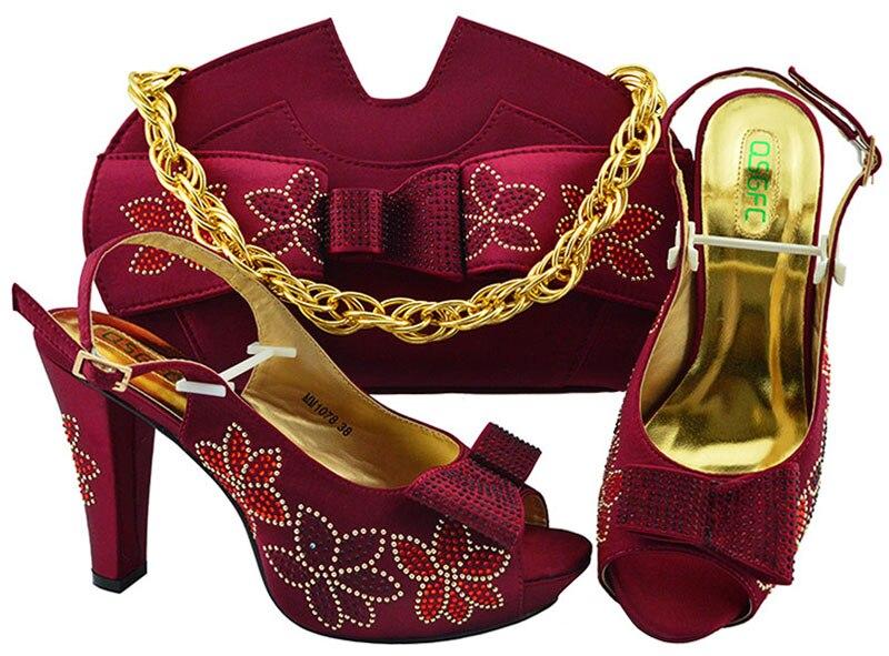 Nouveauté vin couleur chaussures italiennes et sac ensembles chaussures africaines et sacs ensembles pour la fête en femmes italie chaussures et sac ensemble 2019
