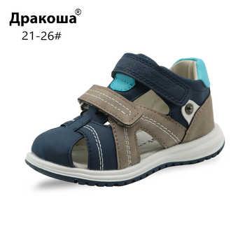 Apakowa Unisex Baby Jungen Closed Toe Sandalen Kinder Weichen Leder Walking Sandale Einstellbar Schuhe für Strand Reise Sport Aktivitäten