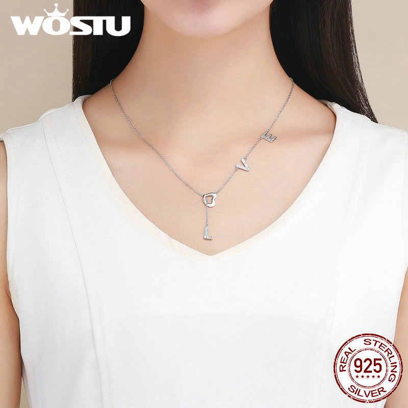 WOSTU 925 стерлингового серебра любовь письмо Циркон PenBNnt ожерелья Длинная цепочка для женщин свадебный подарок любовника ювелирные изделия в стиле минимализма BKN318