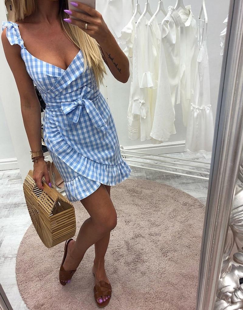 Forefair women casual plaid dress vintage ruffles backless sexy dresses fashion tie waist mini bodycon tank warp summer dress (5)