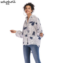 WHOHOLL  Womens Fashion Alphabet Printed Newspaper Spring Autumn Ladies Shirts Women Long Sleeve Clothes Tops Mujer Blouses