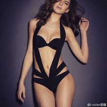 VIIZREL Hot Sale Women Bodysuit Halter Slash Sexy Black Solid Bandage