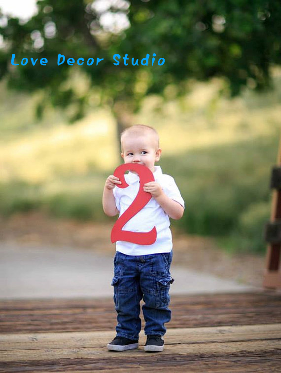 2 Sign Photo Prop for 2 Birthday Photo Shoot for Kids - Wooden Number 2Sign Photographer,
