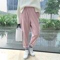 Novo 2016 Outono Mulheres Casuais Bonito Calças Soltas Bonito Estudantes Sólidos Moda Breves Calças de Veludo elástico