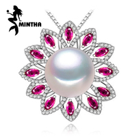 MINTHA 925 sterling silver pendants natural Pearl necklace , Ruby beryl jewelry charm party necklace women pendant for lovers