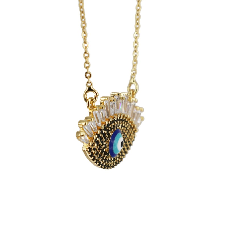2019 New design fashion Pave evil Eye CZ Pendant shiny Crystal Magic black Eyelash Necklace cute girl women charm Jewelry molinu in Pendant Necklaces from Jewelry Accessories