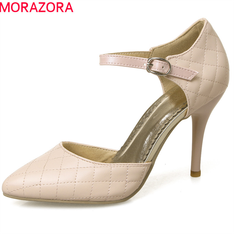 MORAZORA spring summer new sexy women pumps pointed toe extreme high heels with buckle thin heel elegant female shoes moonmeek new arrive spring summer female pumps high heels pointed toe thin heel shallow party wedding flock pumps women shoes
