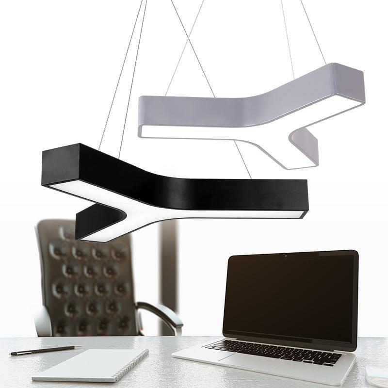 Commercial Led Office Lighting: Y Shaped Led Study Light Lamps Modern Office Black Grey