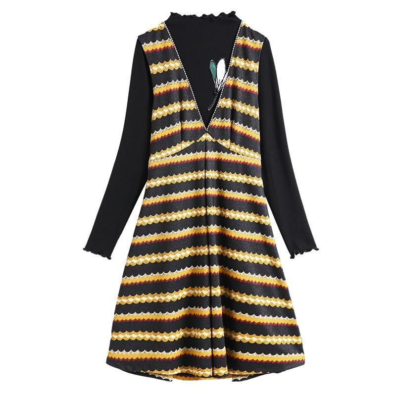À Noir Set Hiver L Robe Jaune Taille Plus 2017 2 5xl Manches Aofuli Robes Rayé Broderie Pièce Et Chemise T Longues 4xl 3xl Automne OxFza7