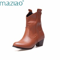 MAZIAO 2016 Leather Western Boots Cowboy Boots Women round Toe Low Heels Short Ankle Boots Classic Design Shoes Woman Botas