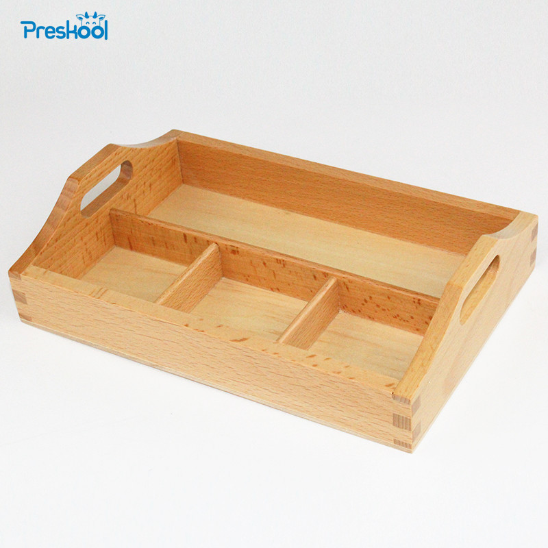Baby Toy Montessori Wooden 3 Compartment Sorting Tray Early Education Preschool Toys Brinquedos Juguetes