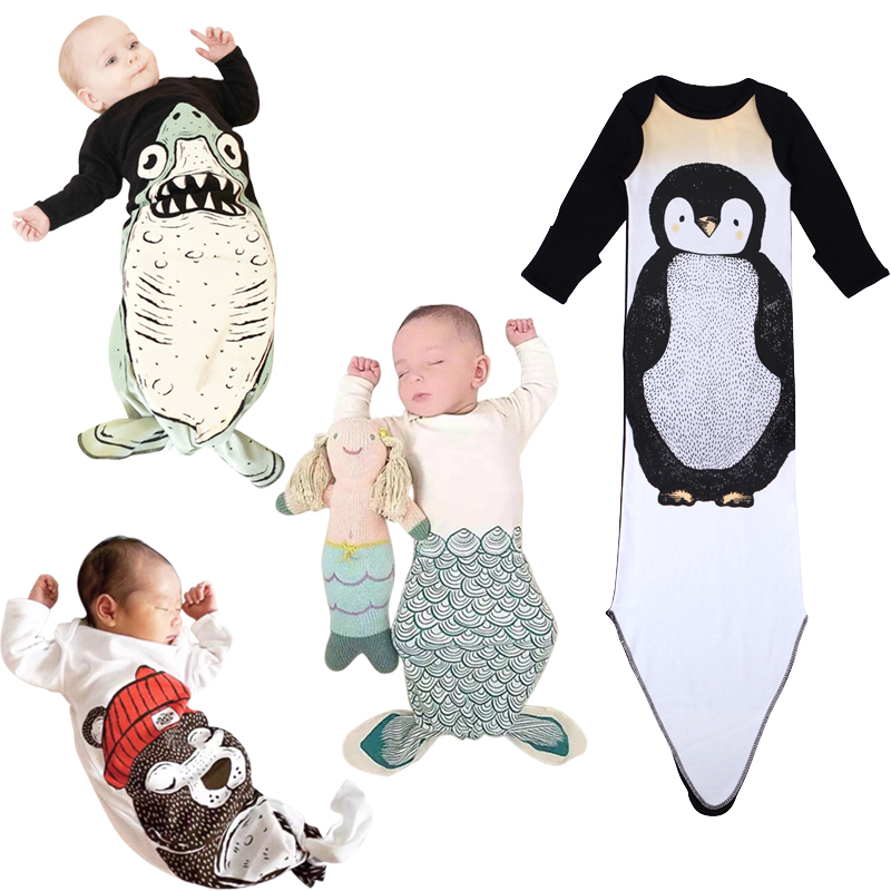 Baby cotton Sleeping Bag Mermaid Sleepsack Animal Shark sleeping blanket baby clothing for Newborn DS40